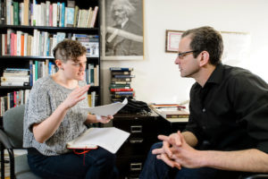 Russ Castronovo, professor of english, meets with a graduate student in the his office in Helen C. White Hall at the University of Wisconsin-Madison on Feb. 9, 2016. Castronovo is one of twelve 2016 Distinguished Teaching Award recipients. (Photo by Bryce Richter / UW-Madison)